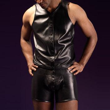 2017 hombres sexy tight-guarnición de cuero chaleco y establecen gay underwear boxer boxer moda hombres boxeadores del pvc diversión de la ropa interior los hombres boxeador