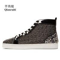 Qianruiti/Новинка 2019 года; Мужская обувь; Уличная обувь в стиле пэчворк со стразами; Вулканизированная Обувь На Шнуровке; мужская обувь на плоско