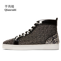 Qianruiti 2018 Newest Men Strass Shoes Patchwork Rhinestone Sneaker Lace up Flat High Top Men Camping Shoes Plus Size 39 47
