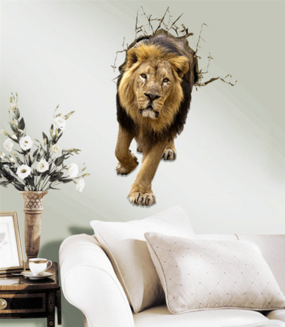 Removable Lion Decoration Wall Stickers Home Decor Modern Animal For Decals