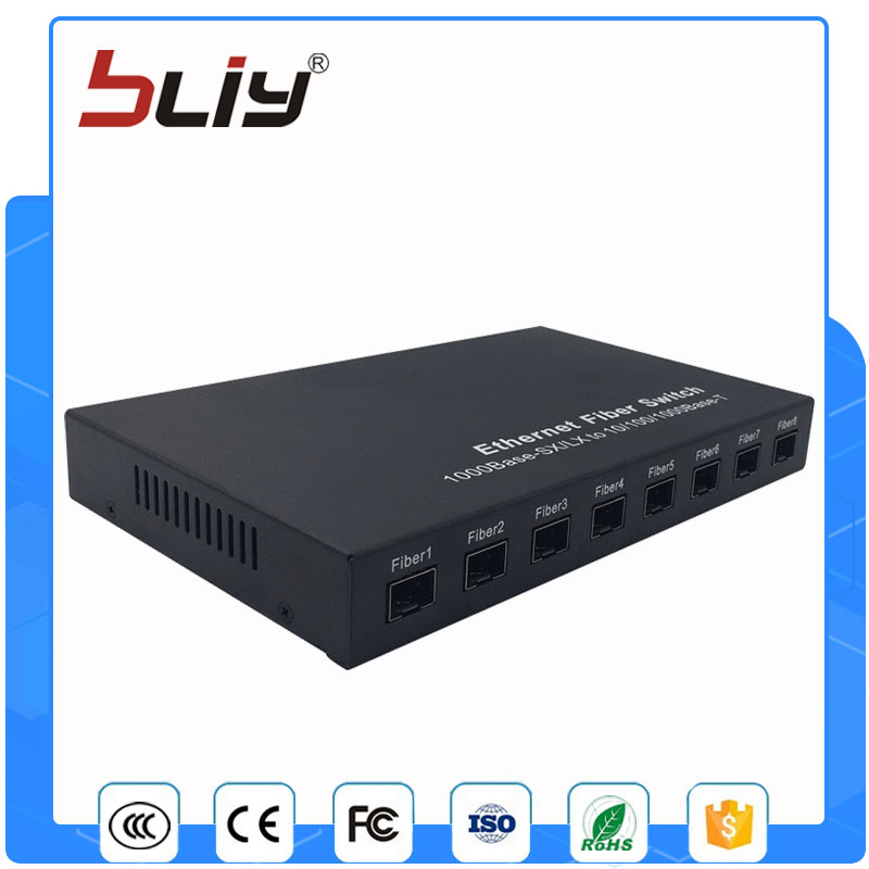 цена на 8G1E 10/100/1000M gigabit sfp media converter 8 port network gigabit ethernet switch