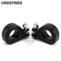 UNDEFINED Black Aluminum Foot Pegs Mounts Clamp Footrest Motorcycle for Harley Engine Guard 1 1/4 Highway Pegs Crash Bar