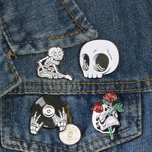 Corpse Guitar Accessories Skull-Head Brooches Men Devil's Gothic Pins Hand-Cranium Jewelry