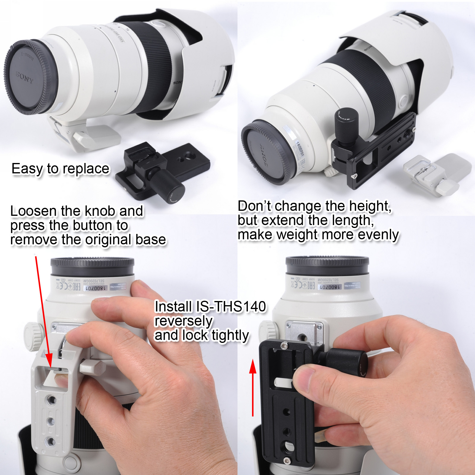 iShoot Lens Replacement Foot Tripod Mount Ring Base with Quick Release Plate Compatible with Sony FE 70-200mm F2.8GM OSS Lens and Sony FE 100-400mm F4.5-5.6 GM OSS Mirrorless Camera Lens