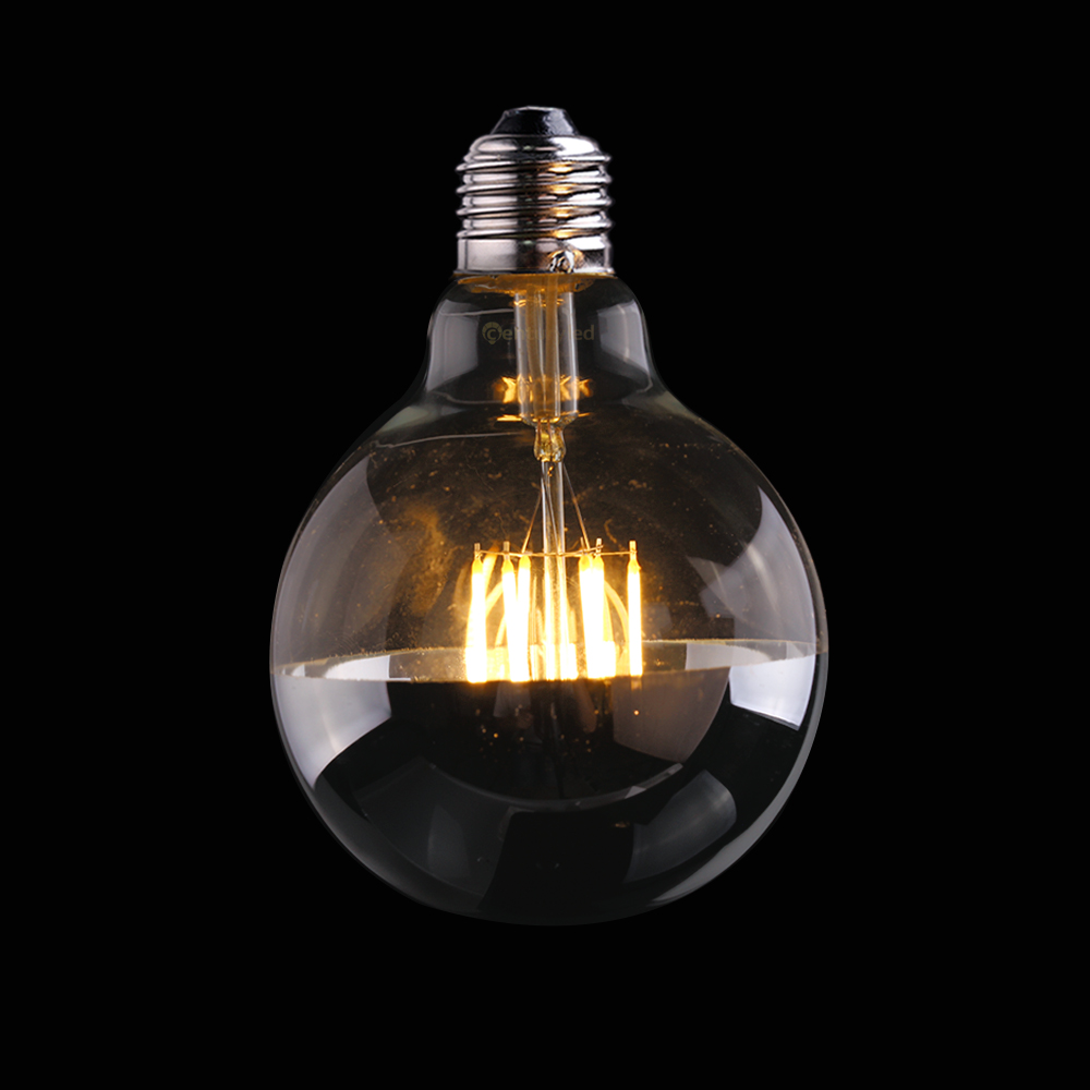 Dimmable,6W,Half Silver ,Edison G95 Globe Style,LED Filament Light Bulb,Warm White,Decorative Lighting