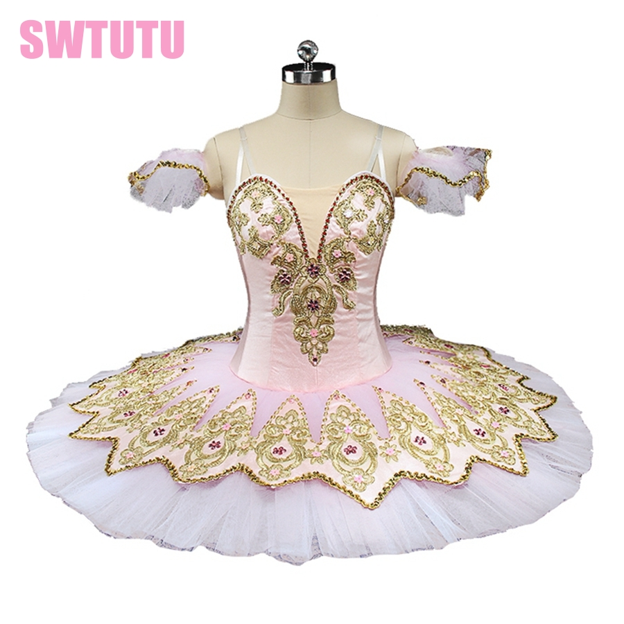 Latest gold paquita professional ballet tutu for girls performance nutcracker ballet stage costumes BT9132D