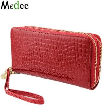 Monederos de mujer 2018 moda bolso chino gran cartera de mano con cremallera bolsos papel dinero mujeres monedero rojo UB030
