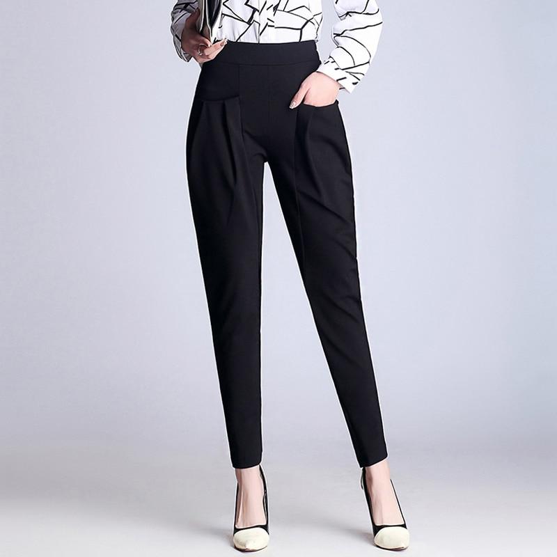 Plus Size Spring Elastic Waist Women Black Harem   Pants   Female Full Length   Pants     Capris   Casual 2019 Office Ladies Pencil Trousers