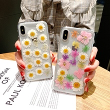 Tfshining Epoxy Real Floral Dried Flowers Soft TPU Back Cover For iPhone X 6 6S 7 8 plus Phone Case for iphone XR XS Max