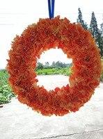 แต่งงานตกแต่งดอกไม้พวงหรีด20นิ้วประตูด้านหน้าสีส้มไฮ