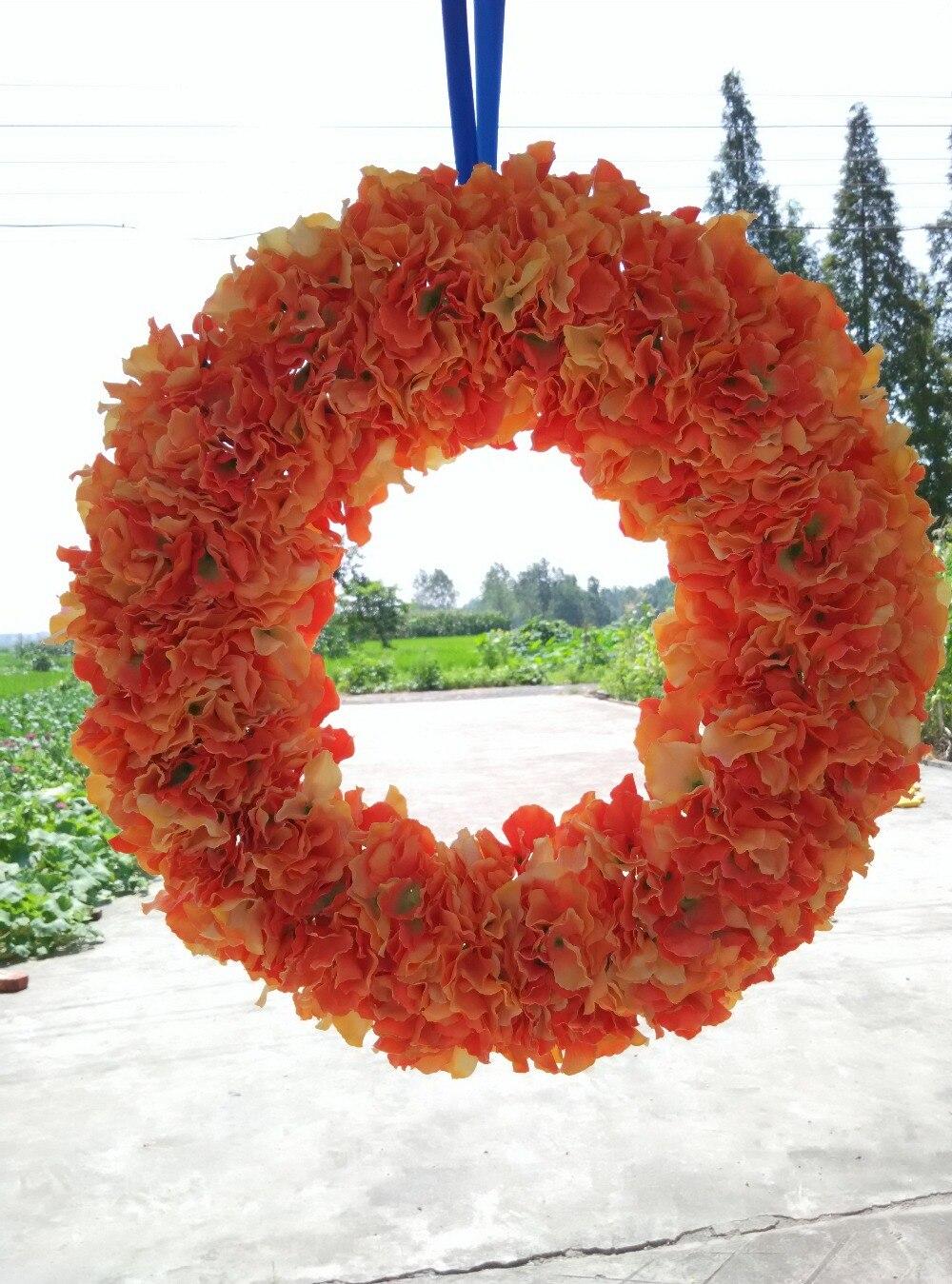 Wedding Decorative Flowers Wreaths 20 Inches Front Door Orange
