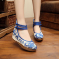 New wedge heels Chinese style pumps shoes women blue white porcelain embroidery features leisure high heels Shoes platform shoes