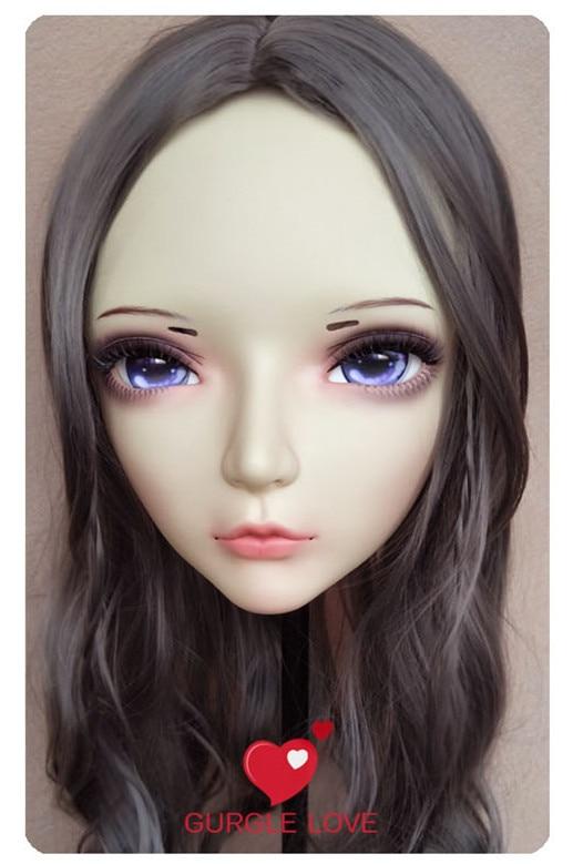Objective Sweet Girl Resin Half Head Bjd Kigurumi Mask With Eyes Cosplay Anime Role Lolita Mask Crossdress Doll 100% Original gl074