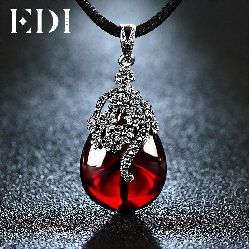 EDI 4.6*2.3 см форма цветка драгоценный камень гранат Подвески Серебро 925 натуральный халцедон ожерелье для женщин ювелирные изделия