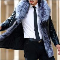 M 3XL Winter casual men's luxurious Faux Large fox fur collar Fur Jackets Leather Coat sheep leather Slim thicken warm overcoats