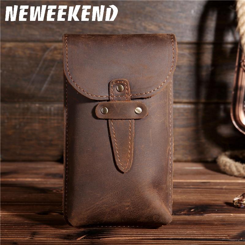 Vintage Retro Men's Genuie Cowhide Leather Waist Bag Hip Bum Belt Loops Purse Wallet Phone Pocket Pouch For Men 2095 2096