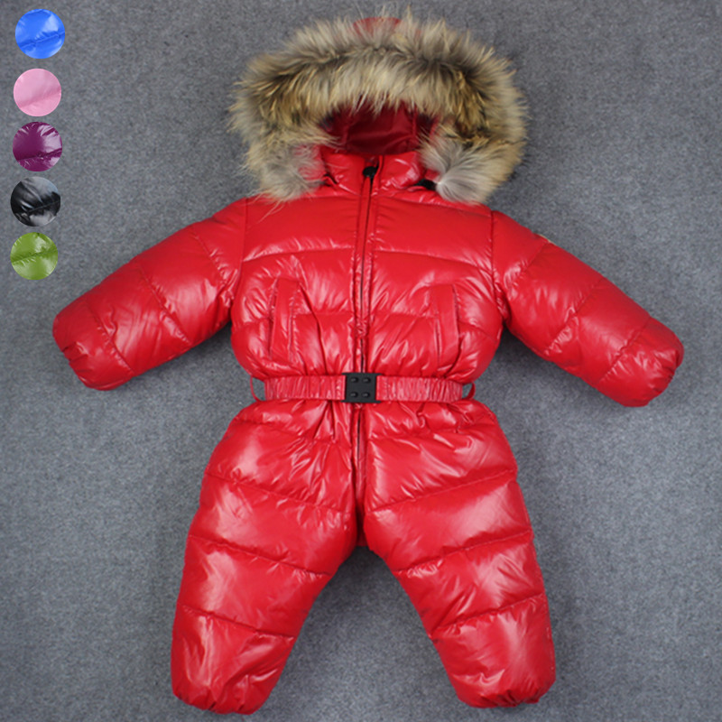 -30 baby girl jumpsuits Russia winter baby clothing , brand coats snow wear down jacket ,snowsuits for kids boys girls clothes