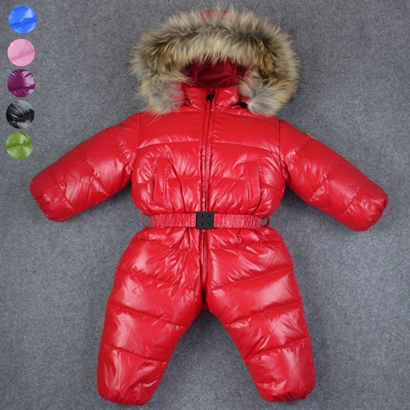 -30 Комбинезоны для маленькой девочки; детская одежда для русской зимы, бренд пальто Зимняя одежда пуховая куртка, Зимние комбинезоны для дет...