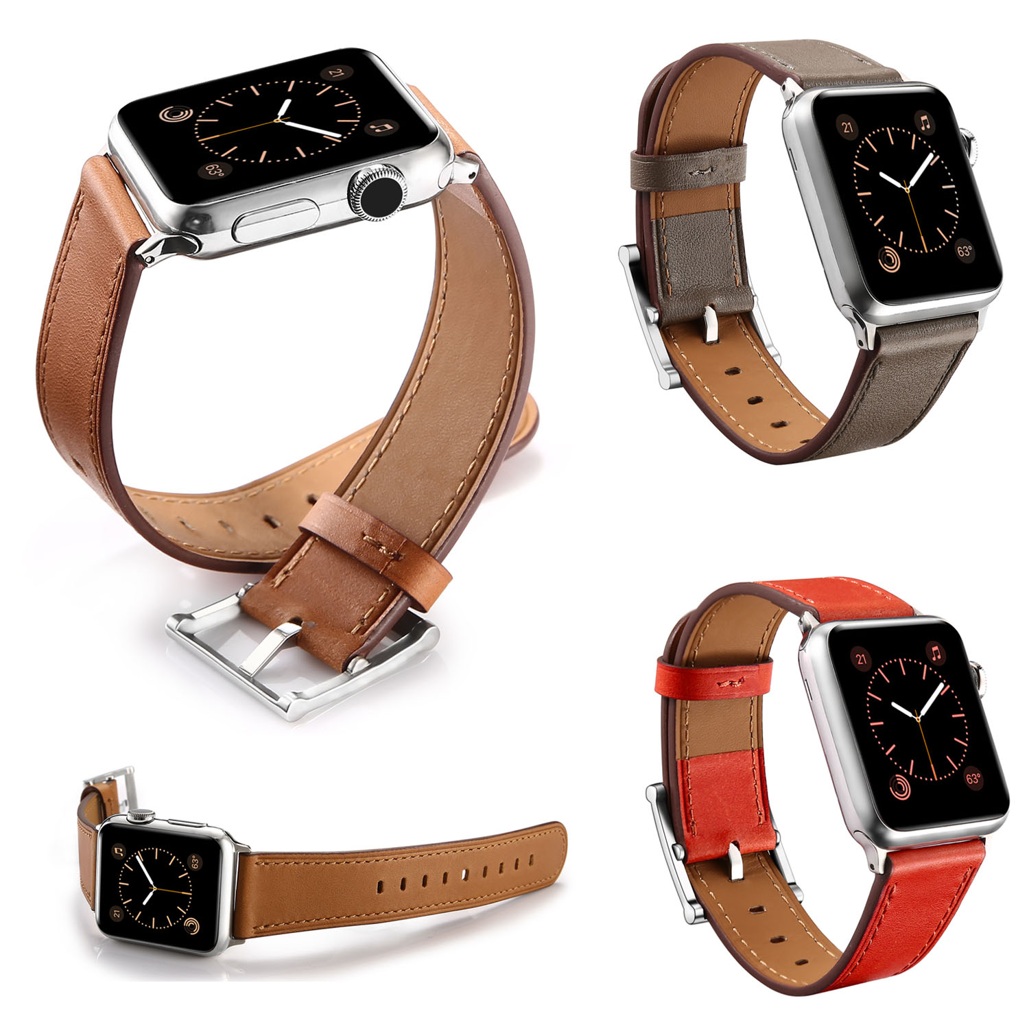 Square Metal Buckle Genuine Leather Band for Apple Watch Strap 42mm 38mm Watchband for iWatch Series 1/2 Watch Strap kakapi crocodile skin genuine leather watchband with connector for apple watch 38mm series 2 series 1 pink