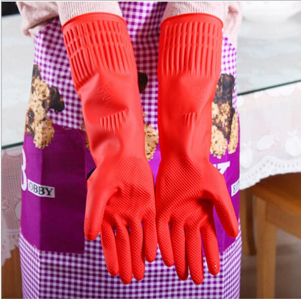 New Kitchen Wash Dishes Cleaning Waterproof Long Sleeve Rubber Latex Gloves Tools HW2