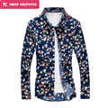 2016 Hot Sale Special Offer Full Camisas Dropshipping Male Flower Shirt Sleeved Korean Personalized Printing Casual Jacket,tx35