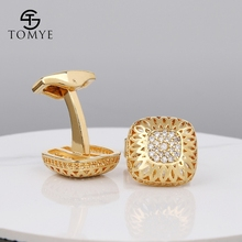 TOMYE Gold high end button 20 zircons luxury groom cufflinks