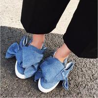 MIKISHYDA Sonbahar Moda Düz Renk Denim Bez Büyük Yay Kravat düz Alt jean sandalet Rahat Ayakkabılar Yeni Kadın Seyahat Spor gladiat