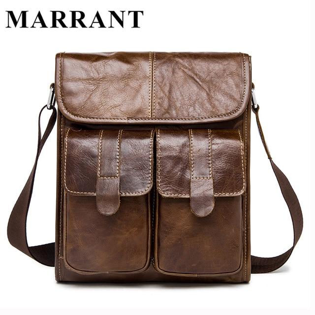 Marrant cuero genuino de los hombres bolsas de mensajero de la manera masculina de los hombres bolso pequeño hombre de la cartera ocasional crossbody bolsos de hombro del bolso 366