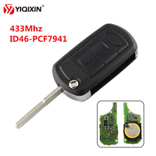 YIQIXIN 3 Button Folding Flip Remote Key 433Mhz ID46 PCF7941 Chip For Land Rover Range Sport LR3 Discovery With HU101 Blade