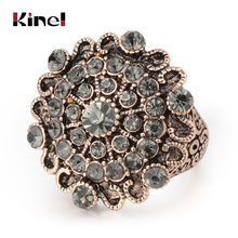 Kinel Original Design Luxury Vintage Wedding Rings For Women Boho Punk Gray Crystal Turkish Jewelery Bague Femme 2019 New