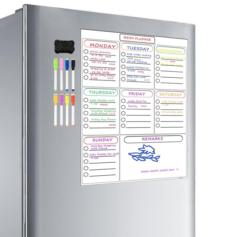 Magnetic Weekly Planner Whiteboard Fridge Cupboard Office Dry Erase Calendar Family Meal Planner Memo Board Shopping List