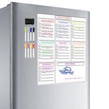 Prancheta magnética semanal, planejador branca para geladeira armário escritório apagar calendário família planejador de refeição lista de compras