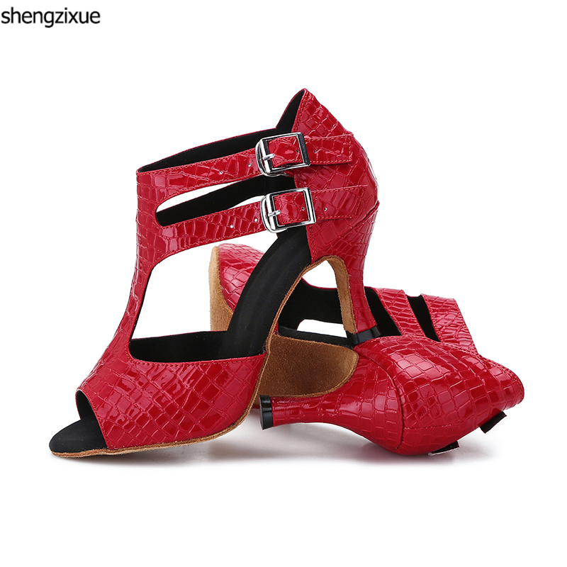 shengzixue 2018 New Black Red Crocodile Texture PU Latin Ballroom Dance  Shoes Modern Salsa Women s 2f9297ba5464