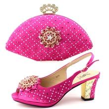 81a07b4328ab60 Fushia rose beaucoup de pierres sandale chaussures dame avec embrayages sac  chaussures italiennes et sac ensemble assorti chauss.