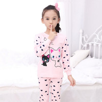 Winter Long Sleeve Cotton Knit Fabric Children Girls Pyjamas Kids Cute Cat Pyjama Set Pink Sleep