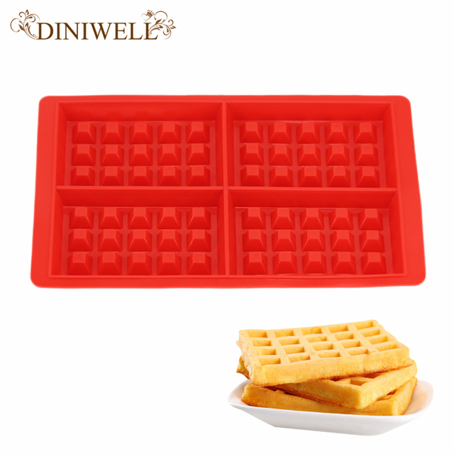 Diniwell Home Kitchen Bakeware Bar Baking Pan Tools 60 Hole Waffle Mold Cupcake Dish Silicone Cake