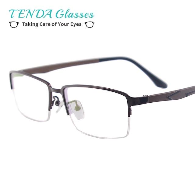 4a6d34d22ab Men Classic Rectangular Eyeglasses Half Rim Metal Prescription Spectacle  Frame For Myopia Reading Optical Lenses