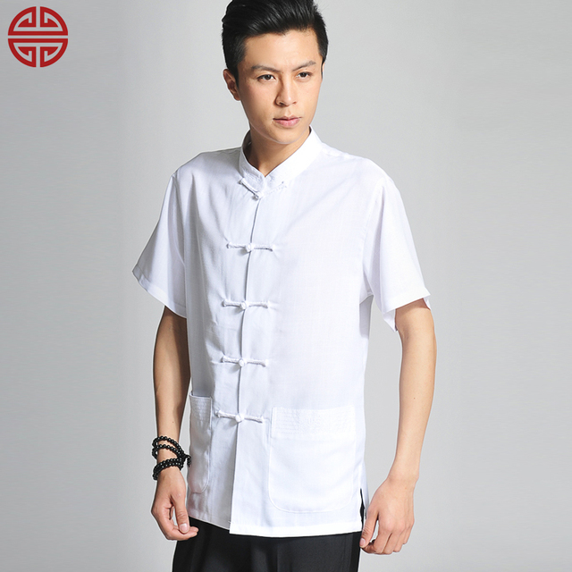 a88c73ceac men s clothing national trend linen t-shirt summer stand collar  short-sleeve chinese style casual black white tang suit