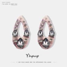 2018 Yhpup Romantic Yarm Oval Stud Earrings Rhinestone Charms Luxury Wedding Party Bridesmaid Gift Earrings Brincos(China)