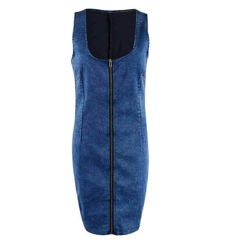 2019 летнее сексуальное джинсовое платье для женщин с квадратным вырезом без рукавов на молнии спереди винтажное мини облегающее платье Клубная одежда vestidos mujer