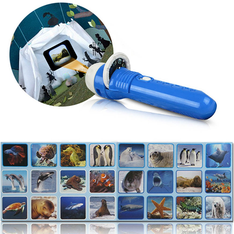 Flashlight Projector Slide Equipment For Baby Sleep Story Animal Slide For Infants Children Light-up Toy Early Enlightenment
