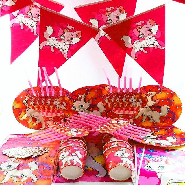 125 piezas para 20 personas Disney Marie Cat Feliz cumpleaños niños boda bebé niño mantel banner niños decoraciones los proveedores