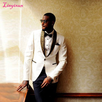 Linyixun Handsome White/ivory/black Men Wedding Suits Slim Fit Bridegroom Custom Order 3 Pieces With Handkerchief men suit