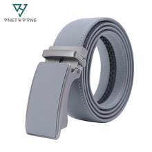 Brand Mens Leather Genuine Belt Brown Fashion Alloy Luxury Automatic Buckle Youth Simple Business 3.5 cm