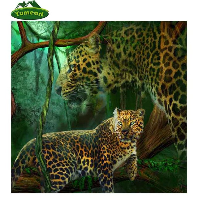 Guepardo DIY 3D diamante mosaico animal leopardo hecho a mano ...