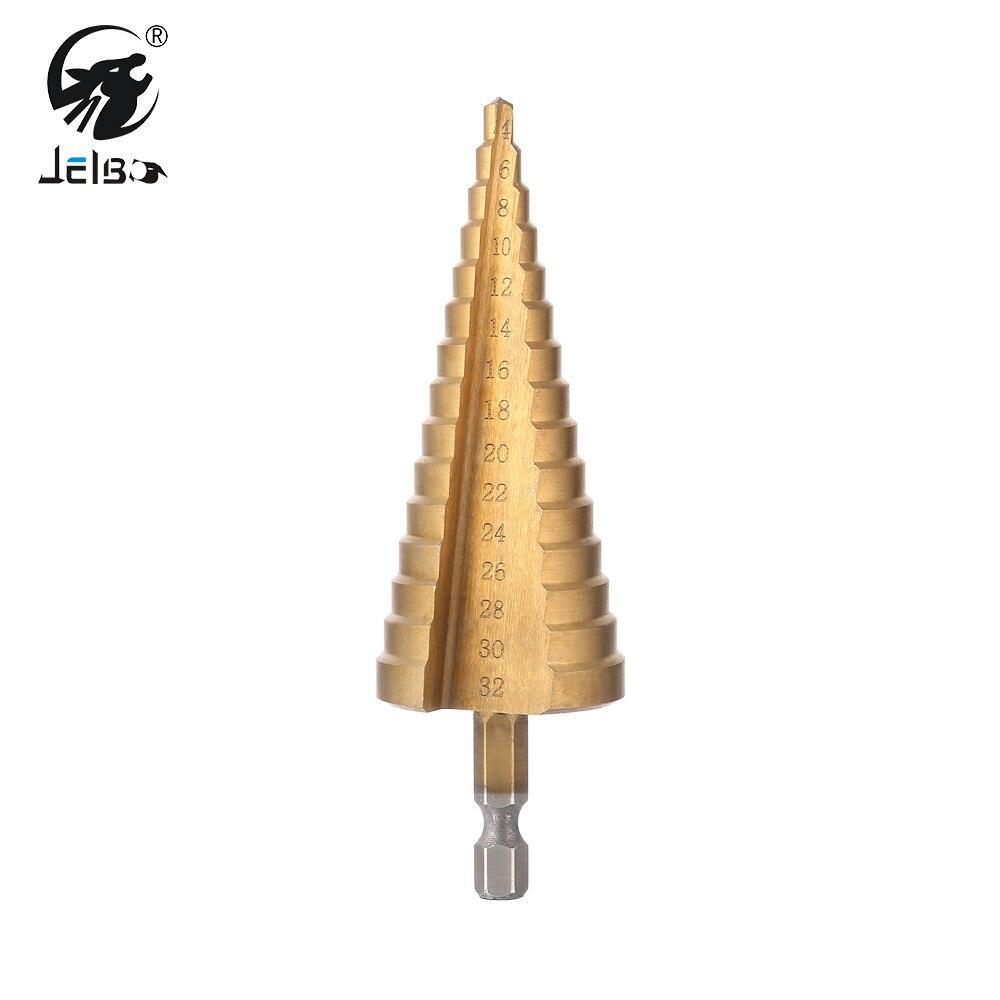 JelBo 4-32mm HSS Titanio Passo Cone Drill Bit Hex Shank Hole Cutter per Copriletto Lavorazione Dei Metalli Legno di Perforazione utensili elettrici