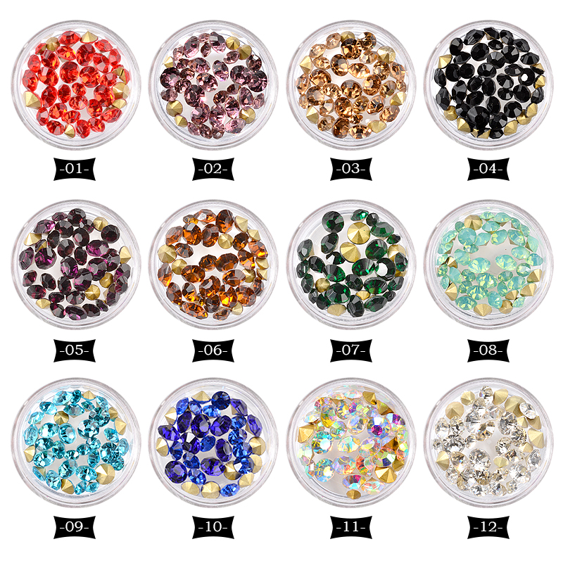 12 Colors Crystal AB Nail Art Rhinestones Set Mixed Sizes Sharp Bottom Nail Jewelry Decorations 3d Manicure Nail Accessories 1 pack mixed size crystal ab colorful nail art rhinestones flat back 3d glass nail glitter decorations diy manicure accessories