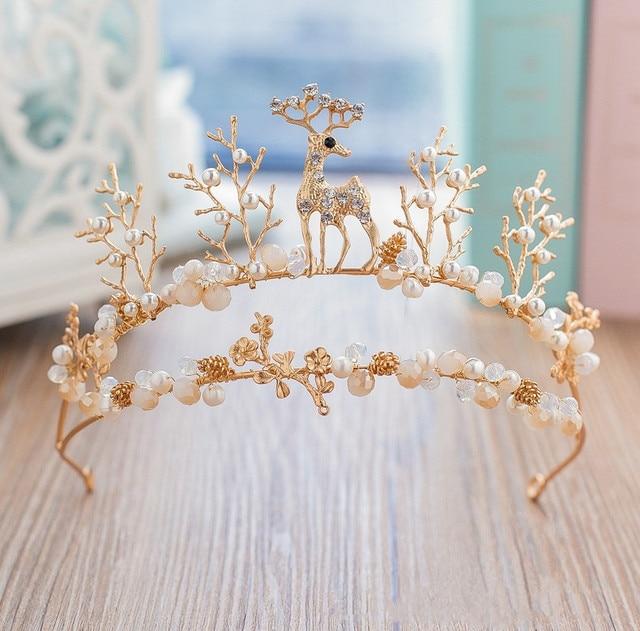 Deer Tiara Headband Baroque Crown Bridal Headpiece Wedding Hair Accessories Hairband Bijoux Cheveux De Tete Novia WIGO0966