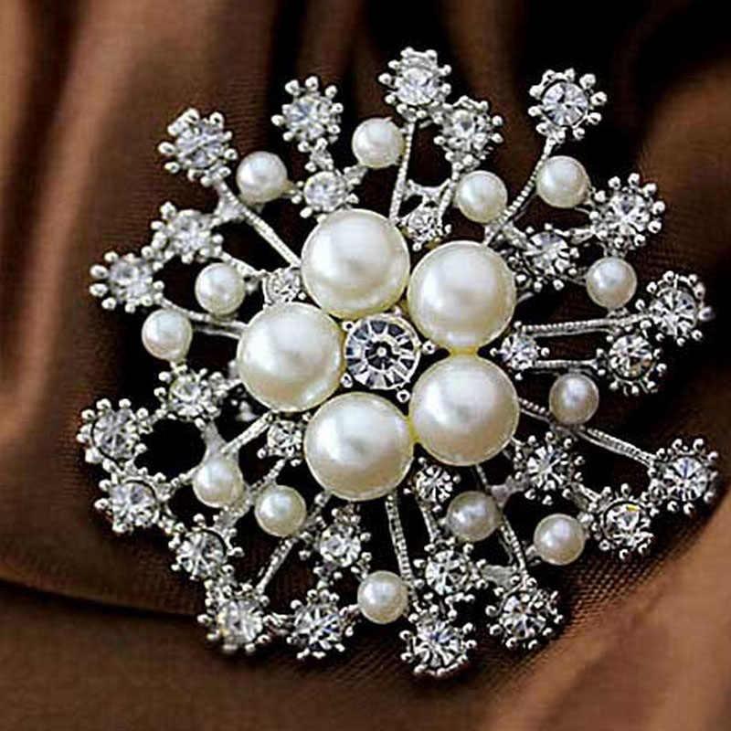 LNRRABC แฟชั่นผู้หญิงเข็มกลัดขนาดใหญ่ Lady Snowflake เลียนแบบไข่มุก Rhinestones คริสตัลแต่งงานเข็มกลัด Pin เครื่องประดับอุปกรณ์เสริม