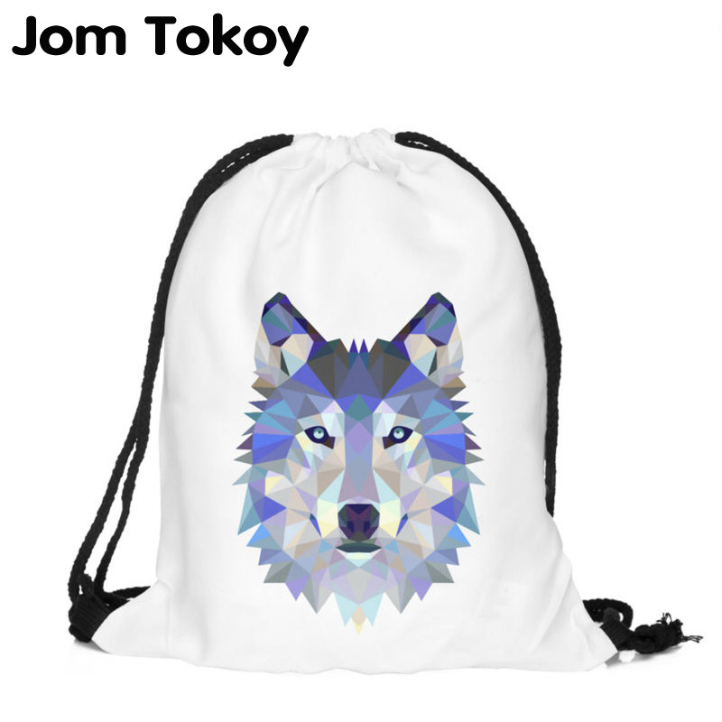 Polygon Wolf 3D Printing Fashion Women Party Bolsa Feminina Drawstring Bag Travel Backpack Mochila Man's Bags